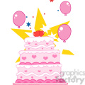 cartoon-pink-birthday-cake