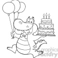 black-white-alligator-holding-birthday-cake  gif, png, jpg, eps, svg, pdf