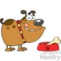 4803-Royalty-Free-RF-Copyright-Safe-Happy-Bulldog-With-Bowl-And-Bone