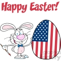Royalty-Free-RF-Copyright-Safe-Happy-Easter-Text-Above-A-Rabbit-Painting-Easter-Egg-With-American-Flag