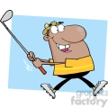 4712-Royalty-Free-RF-Copyright-Safe-Happy-African-American-Golfer-Running