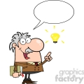 12825 RF Clipart Illustration Professor With An Idea And Speech Bubble