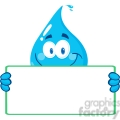 12859 RF Clipart Illustration Happy Water Drop Character Holding A Banner