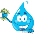 12870 RF Clipart Illustration Happy Water Drop Holding Money Over A Sign