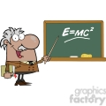 12833 RF Clipart Illustration African American Professor Pointing To Green Chalk Board With Einstein Formula E=mc2