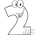 4971-Clipart-Illustration-of-Number-Two-Cartoon-Mascot-Character