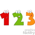 4983-Clipart-Illustration-of-Numbers-One,Two-And-Three-Cartoon-Mascot-Characters