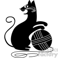 vector clip art illustration of black cat 098