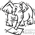 black and white image of a republican elephant