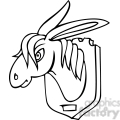 black and white clip art of a donkey head on the wall