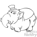 black and white image of a fat Republican elephant