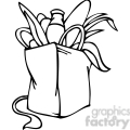 black and white clip art of a Democrat bag of groceries