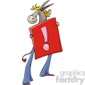 Democrat cartoon of a donkey holding a sign