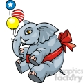 Republican mascot floating with balloons