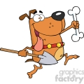 5202-Running-Dog-With-A-Bone-And-Shovel-Royalty-Free-RF-Clipart-Image