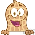 peanut cartoon mascot character over a sign gif, png, jpg, eps, svg, pdf