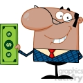 Clipart of Smiling African American Business Manager Holding A Dollar Bill