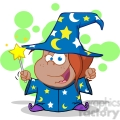 Royalty Free Happy African American Wizard Girl Waving With Magic Wand