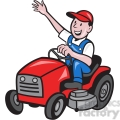 farmer riding tractor mower