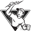 black and white electrician lightning bolt standing triangle
