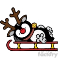Rudolph the red nose penguin on a sled
