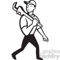 black and white plumber monkey wrench walk  gif, png, jpg, eps, svg, pdf
