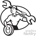 black and white mechanic spanner tyre front oval  gif, png, jpg, eps, svg, pdf