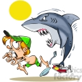 cartoon shark chasing a little boy on land  gif, png, jpg, eps, svg, pdf