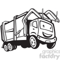black and white rubbish truck cartoon front