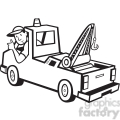 black and white tow truck driver rear