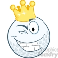 5711 Royalty Free Clip Art Happy Golf Ball Cartoon Character With Gold Crown Winking