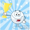 5738 Royalty Free Clip Art Happy Golf Ball Holding Golden Trophy Cup