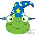 5652 Royalty Free Clip Art Cute Frog Smiling Head With Wizard Hat