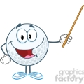 5749 Royalty Free Clip Art Smiling Golf Ball Holding A Pointer