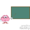5813 Royalty Free Clip Art Smiling Brain Teacher Character With A Pointer In Front Of Chalkboard