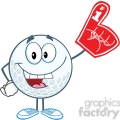 5746 Royalty Free Clip Art Smiling Golf Ball With Foam Finger