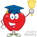 5790 Royalty Free Clip Art Smiling Apple Character Ringing A Bell For Back To School