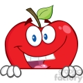 5779 Royalty Free Clip Art Smiling Red Apple Hiding Behind A Sign