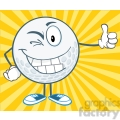 5728 Royalty Free Clip Art Winking Golf Ball Cartoon Character Holding A Thumb Up