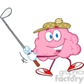 5842 royalty free clip art smiling brain cartoon character swinging a golf club  gif, png, jpg, eps, svg, pdf