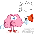 5849 Royalty Free Clip Art Angry Brain Cartoon Character Screaming Into Megaphone With Speech Bubble