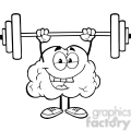 5976 Royalty Free Clip Art Happy Brain Character Lifting Weights