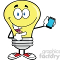 6091 Royalty Free Clip Art Light Bulb Character Holding A Mobile Phone