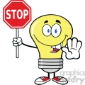 6064 Royalty Free Clip Art Light Bulb Cartoon Character Holding A Stop Sign