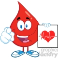 6202 Royalty Free Clip Art Red Blood Drop Cartoon Character Pointing With Finger And Presenting Ecg Graph On Red Heart