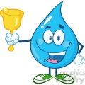 6234 Royalty Free Clip Art Water Drop Character Waving A Bell For Donation