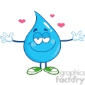 6233 Royalty Free Clip Art Smiling Water Drop Character With Open Arms For Hugging