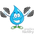 6218 Royalty Free Clip Art Smiling Water Drop Cartoon Mascot Character Training With Dumbbells