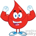 6176 Royalty Free Clip Art Red Blood Drop Cartoon Character Showing Muscle Arms
