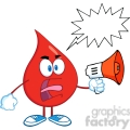 6190 Royalty Free Clip Art Angry Red Blood Drop Character Screaming Into Megaphone With Speech Bubble